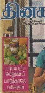 Dinakaran Vasantam Tamil agazine Cover - Panakam Article